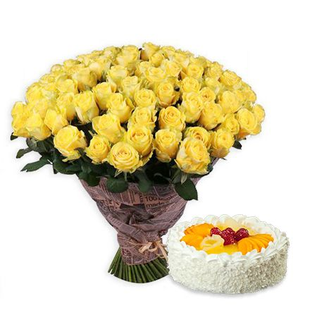 Bouquet 111 yellow roses + cake as a gift