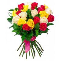 Bouquet 17 різнокольорових троянд