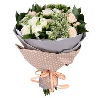 Cream bouquet, bouquet of cream boses, gentle bouquet,  bouquet for mother, bouquet for wife, cute b