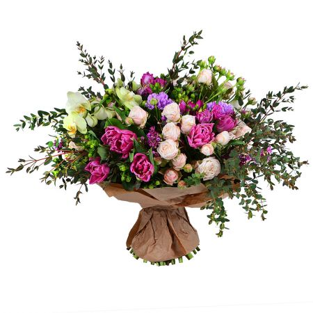 Colorful beautiful bouquet 'Bohemia' to buy with delivery
