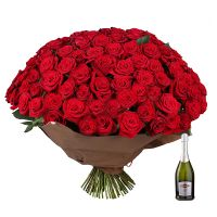 Bouquet Seduction 101 roses  + Asti Martini