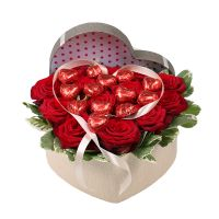 Bouquet Heart of roses with sweets